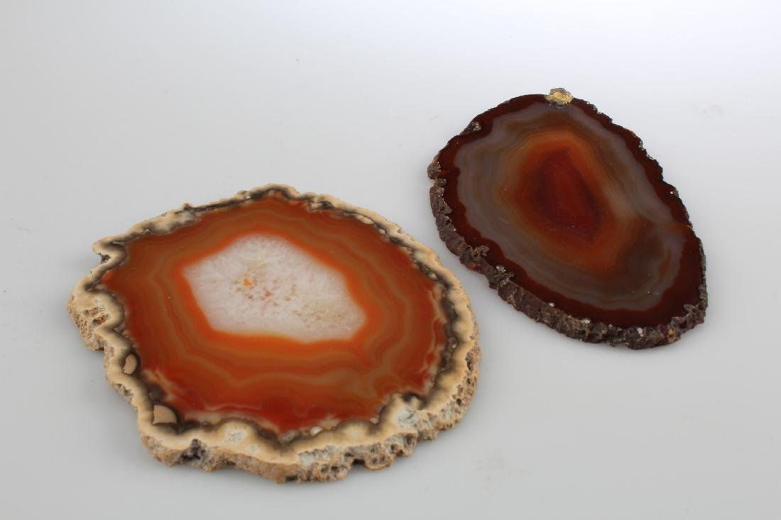 A Group of Two Agate Sliced Ornaments