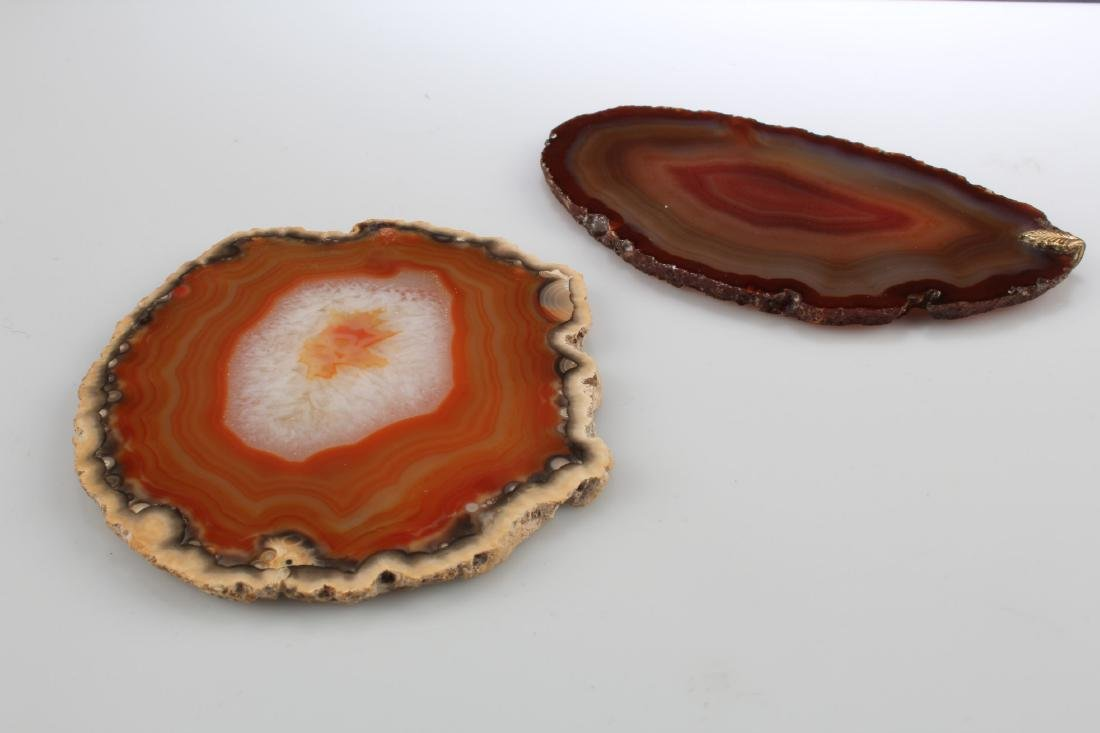 A Group of Two Agate Sliced Ornaments - 2