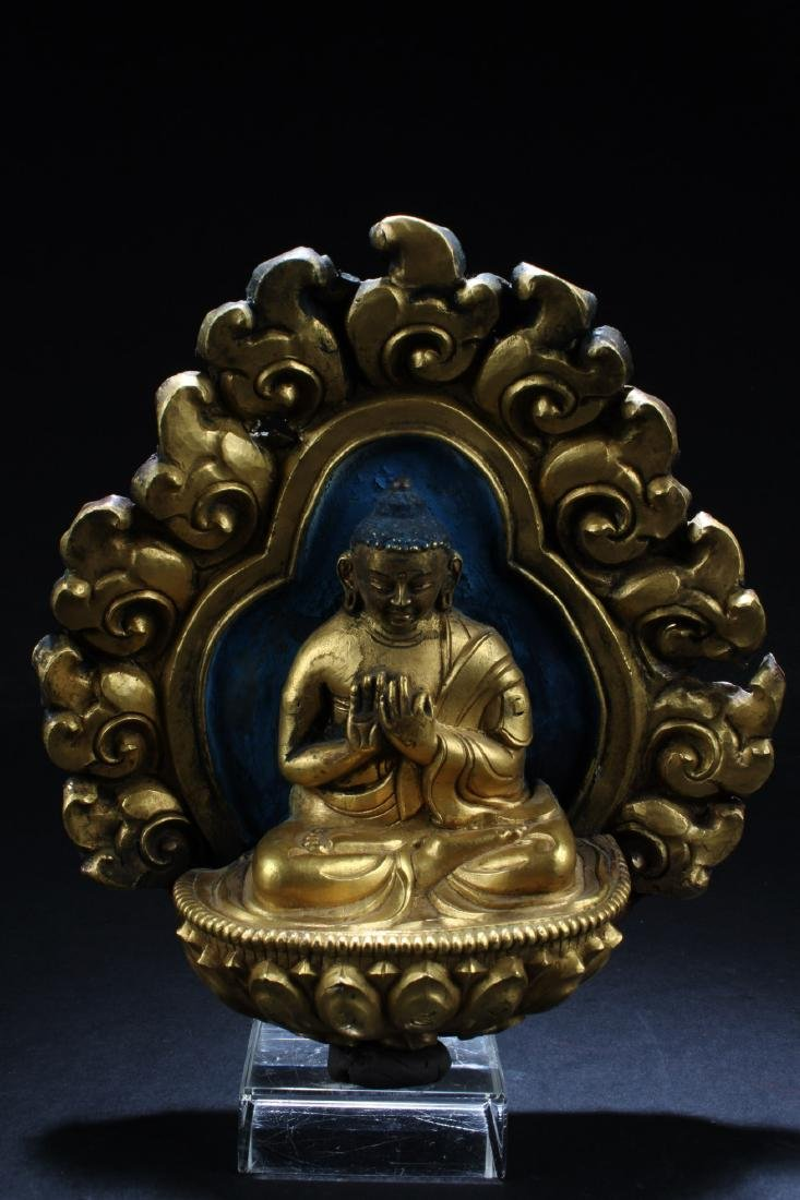 Gilt Bronze Buddha Sculpture Plaque