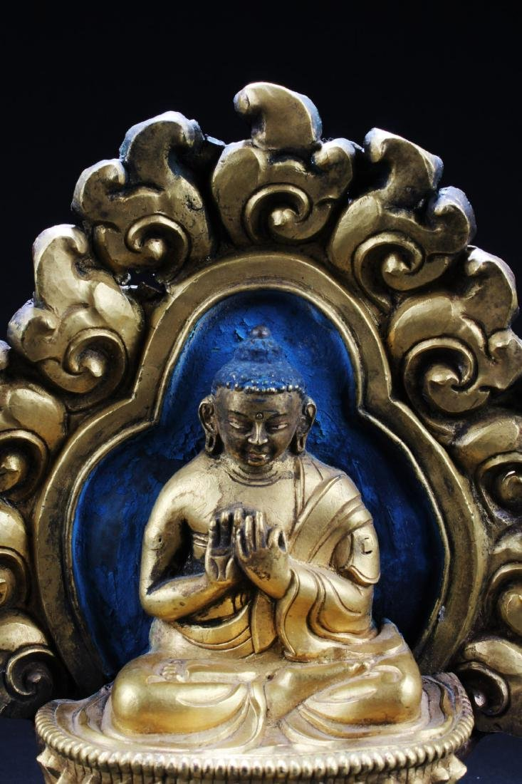 Gilt Bronze Buddha Sculpture Plaque - 2