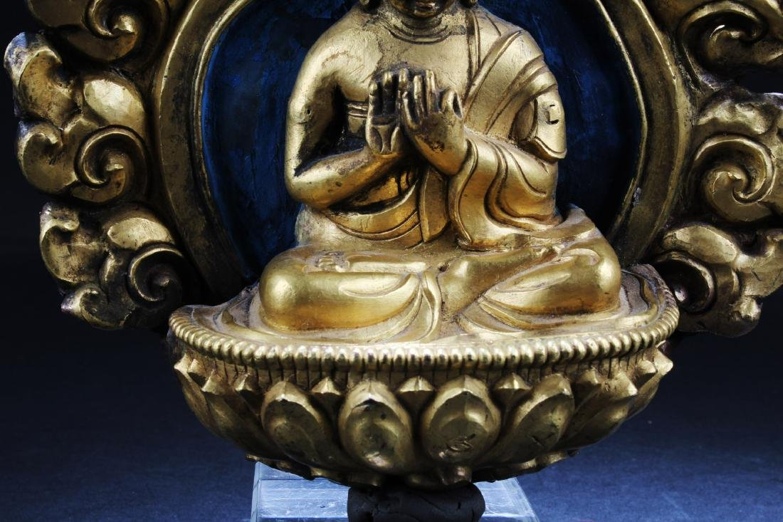Gilt Bronze Buddha Sculpture Plaque - 3