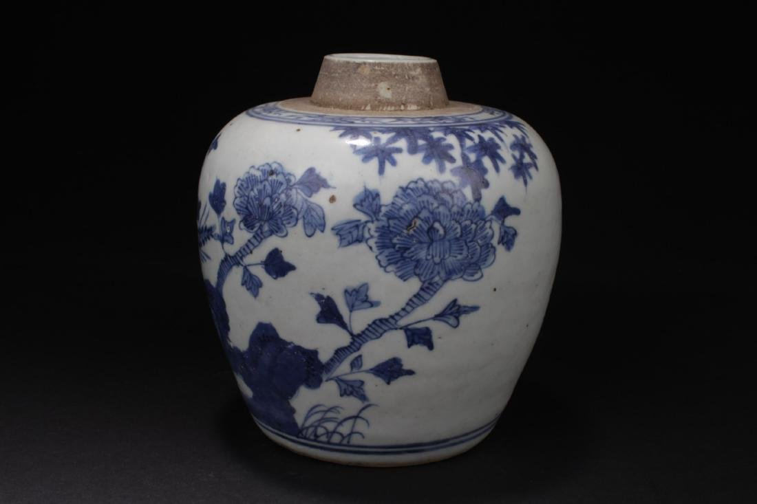 Antique Chinese Blue & White Porcelain Jar - 2