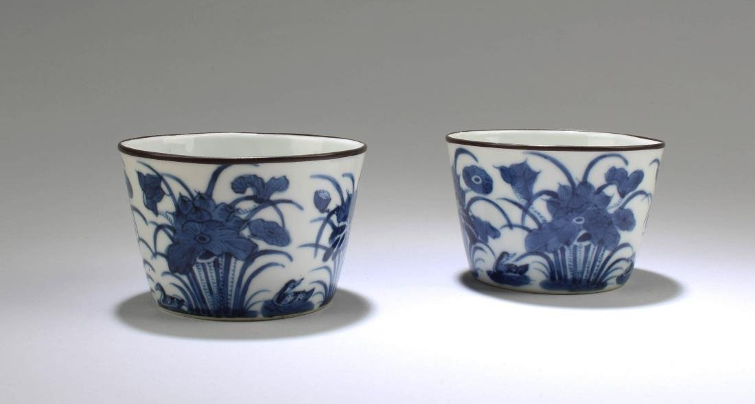 A Pair of Chinese Blue & White Porcelain Cups