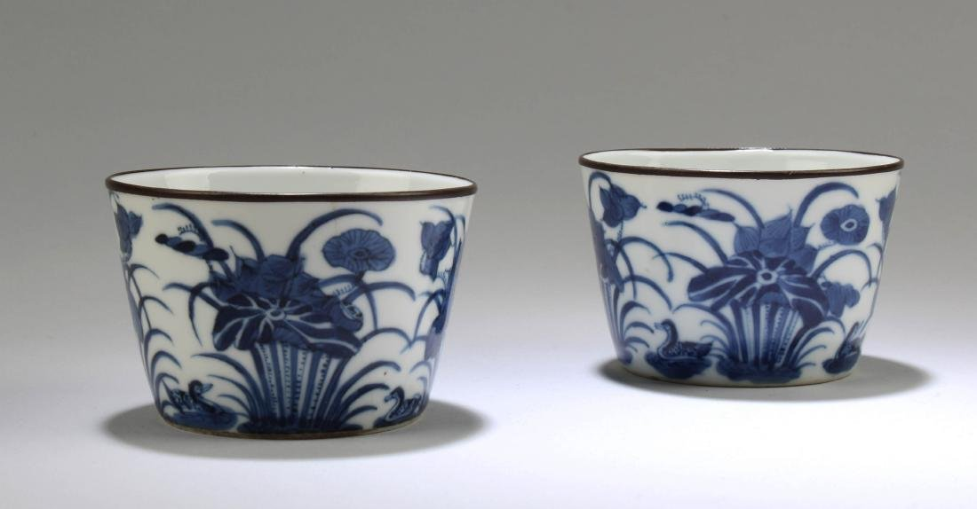 A Pair of Chinese Blue & White Porcelain Cups - 2