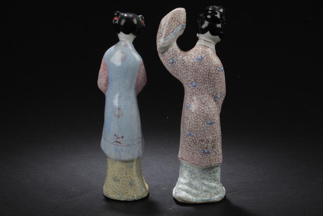 Two Chinese Porcelain Figure Statues - 3