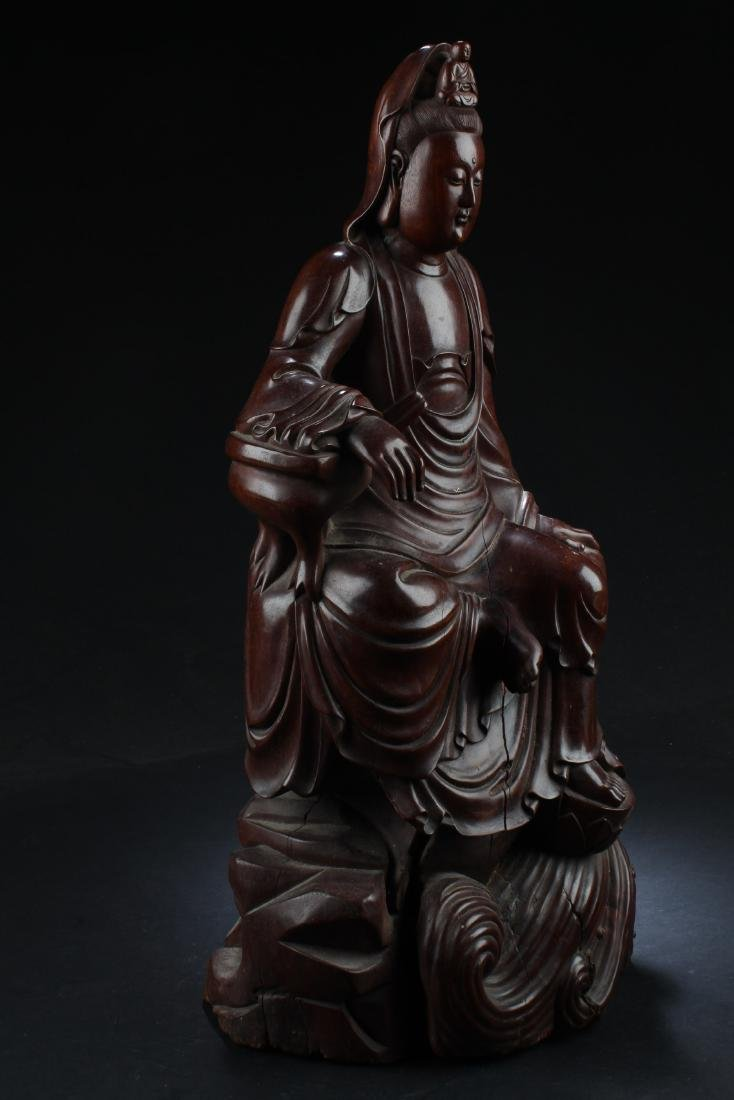Chinese Wood Carved Guanyin Statue - 3
