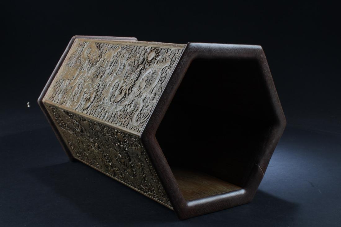 Chinese Bamboo Hexagonal Shaped Brushpot - 3