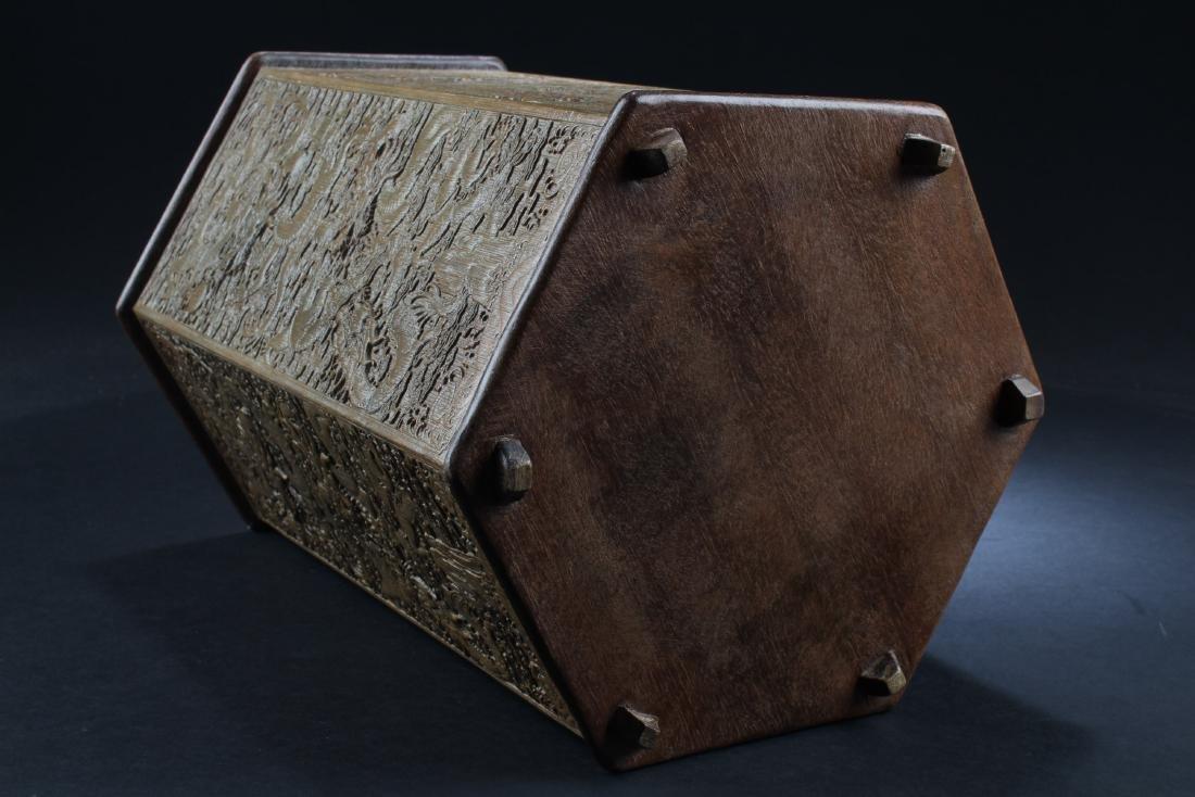 Chinese Bamboo Hexagonal Shaped Brushpot - 4
