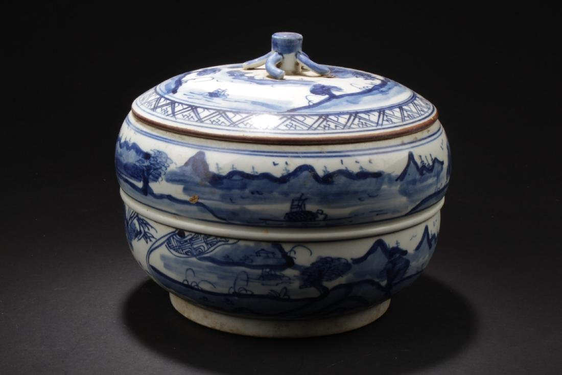 Chinese Blue & White Porcelain Jar With Lid