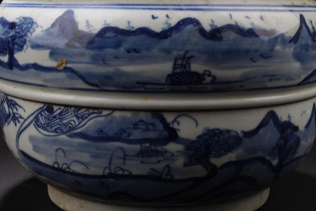 Chinese Blue & White Porcelain Jar With Lid - 2