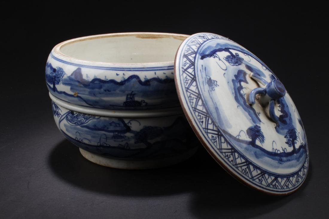 Chinese Blue & White Porcelain Jar With Lid - 3
