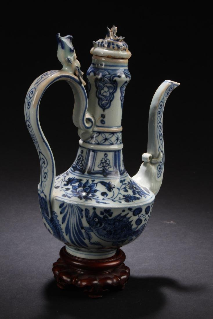 Chinese Blue & White porcelain Teapot - 3