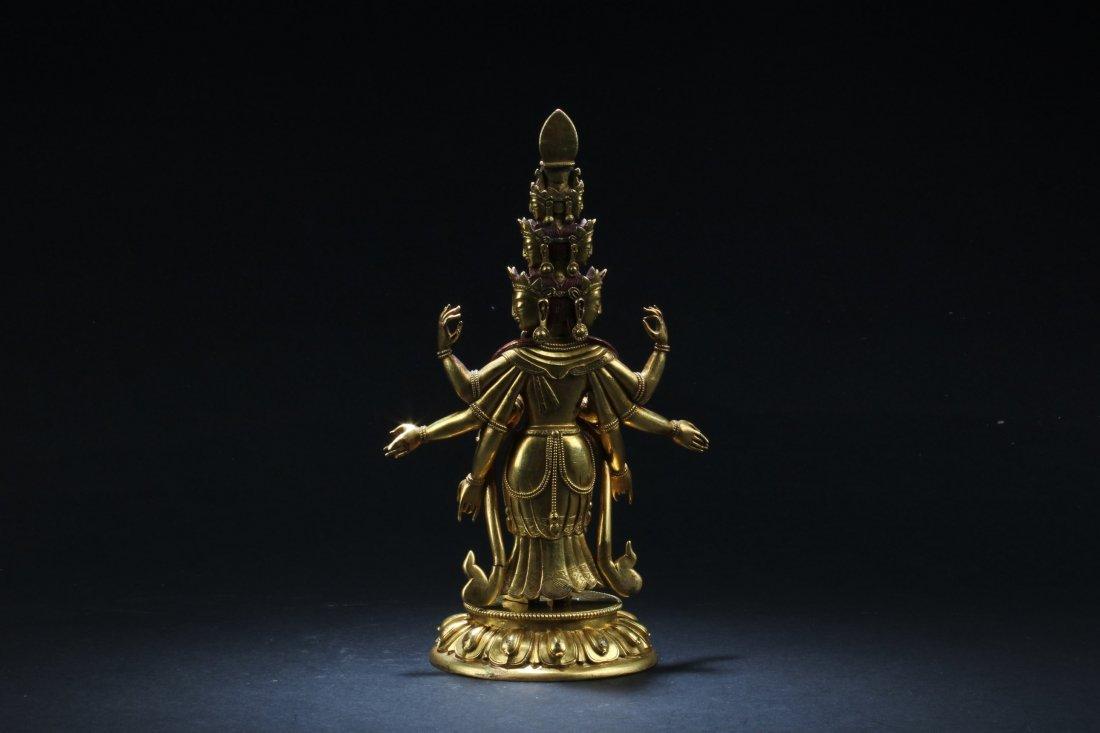 Chinese Gilt Bronze Bodhisattva Statue - 5