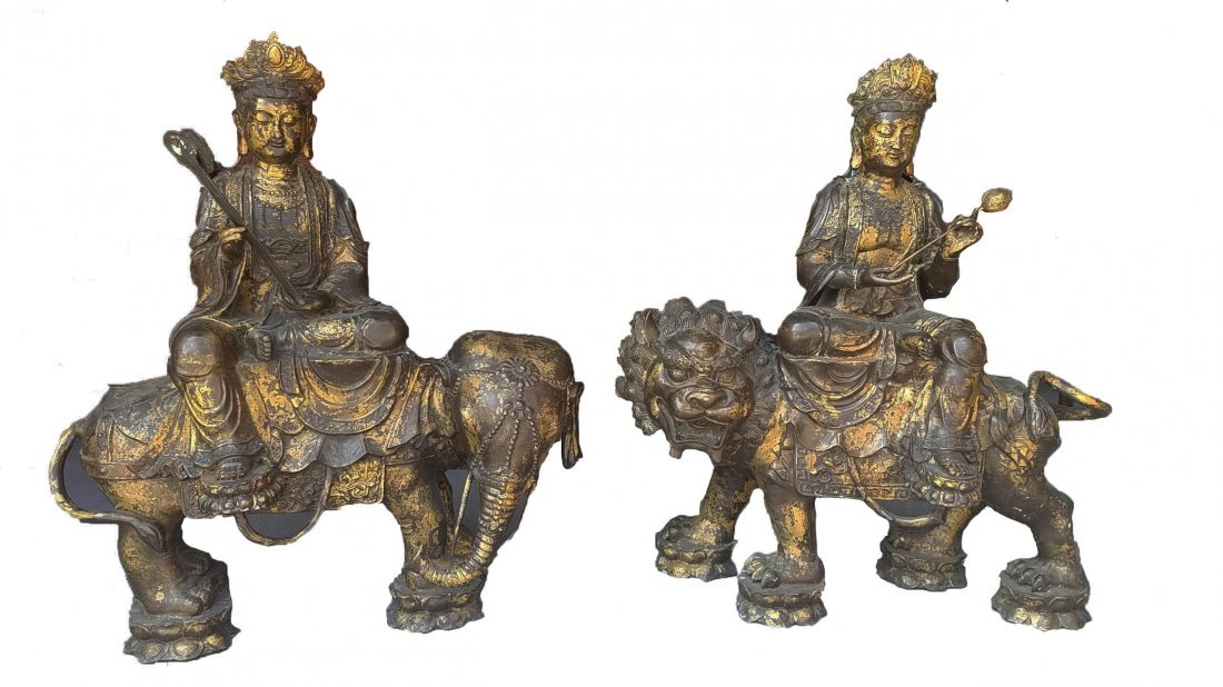 A Pair of Chinese Bronze Statues