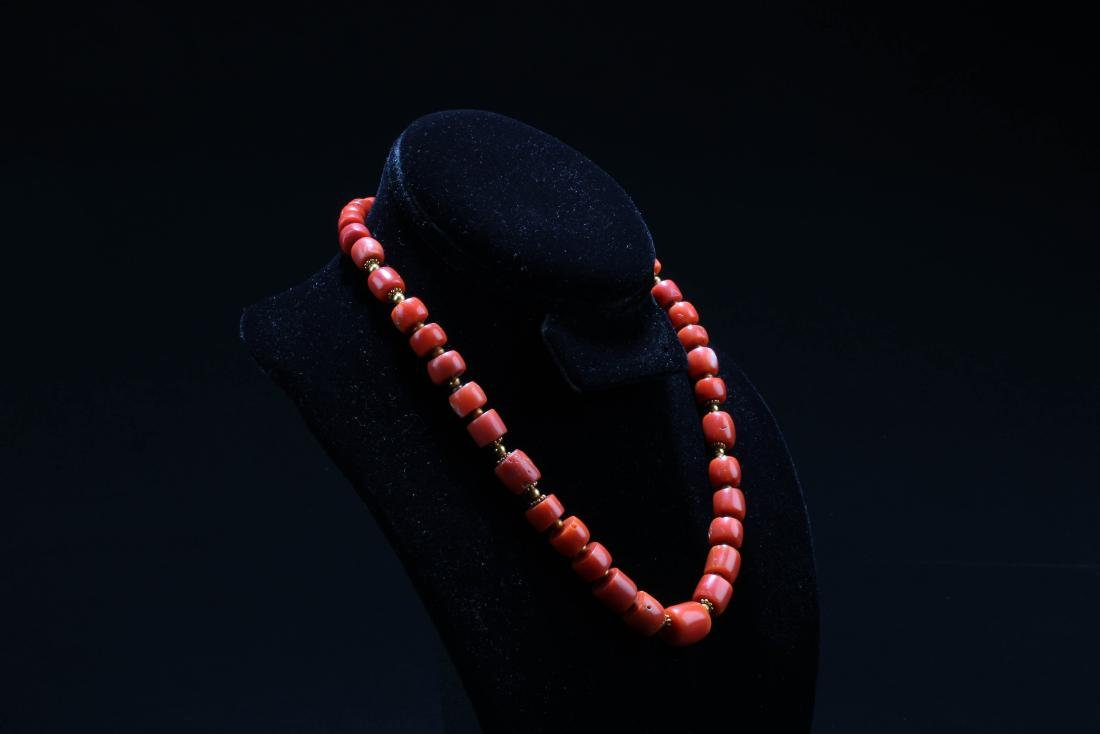 Chinese Red Coral Necklace - 2