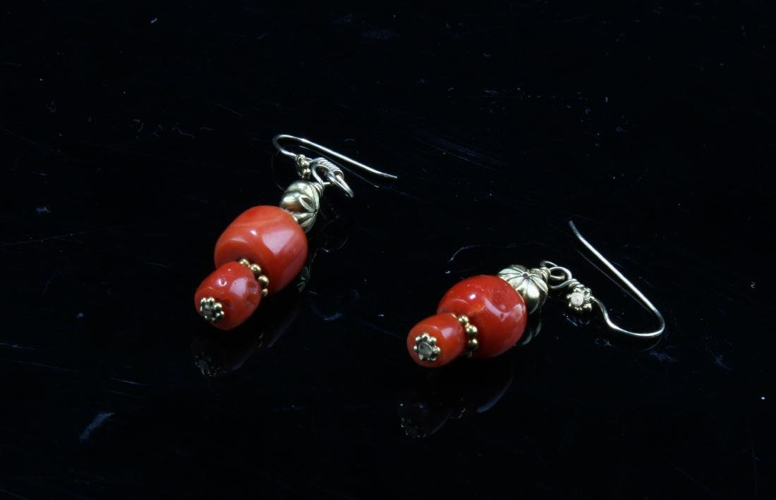 A Pair of Red Coral Earring