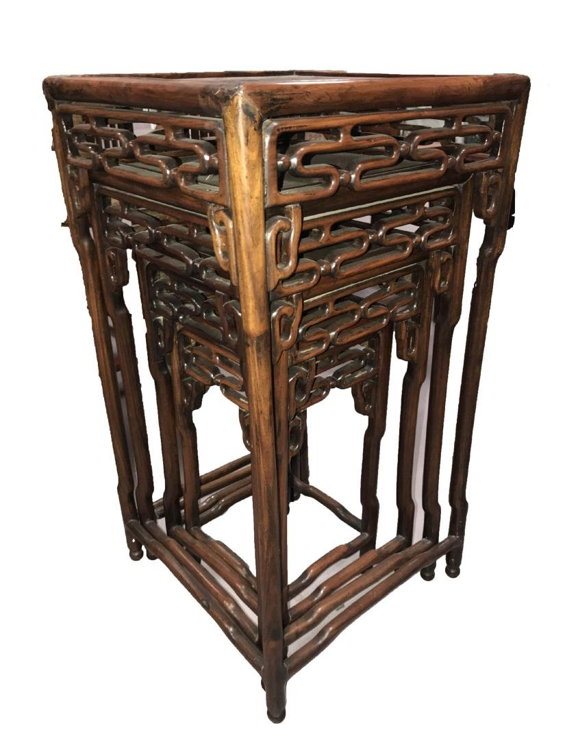Four Antique Chinese Bamboo Stool Collection