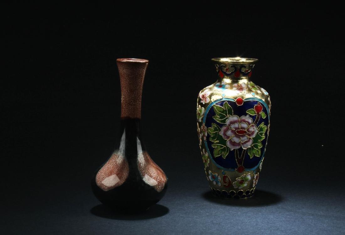 Chinese Porcelain Vase & Chinese Cloisonne Vase