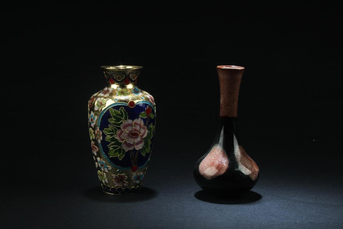 Chinese Porcelain Vase & Chinese Cloisonne Vase - 2