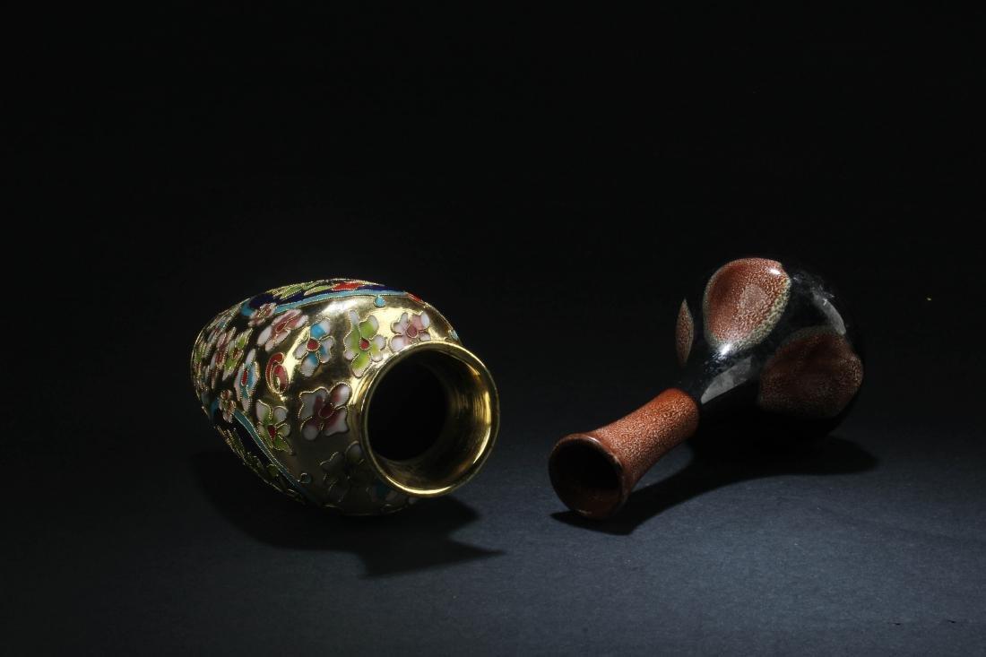 Chinese Porcelain Vase & Chinese Cloisonne Vase - 3