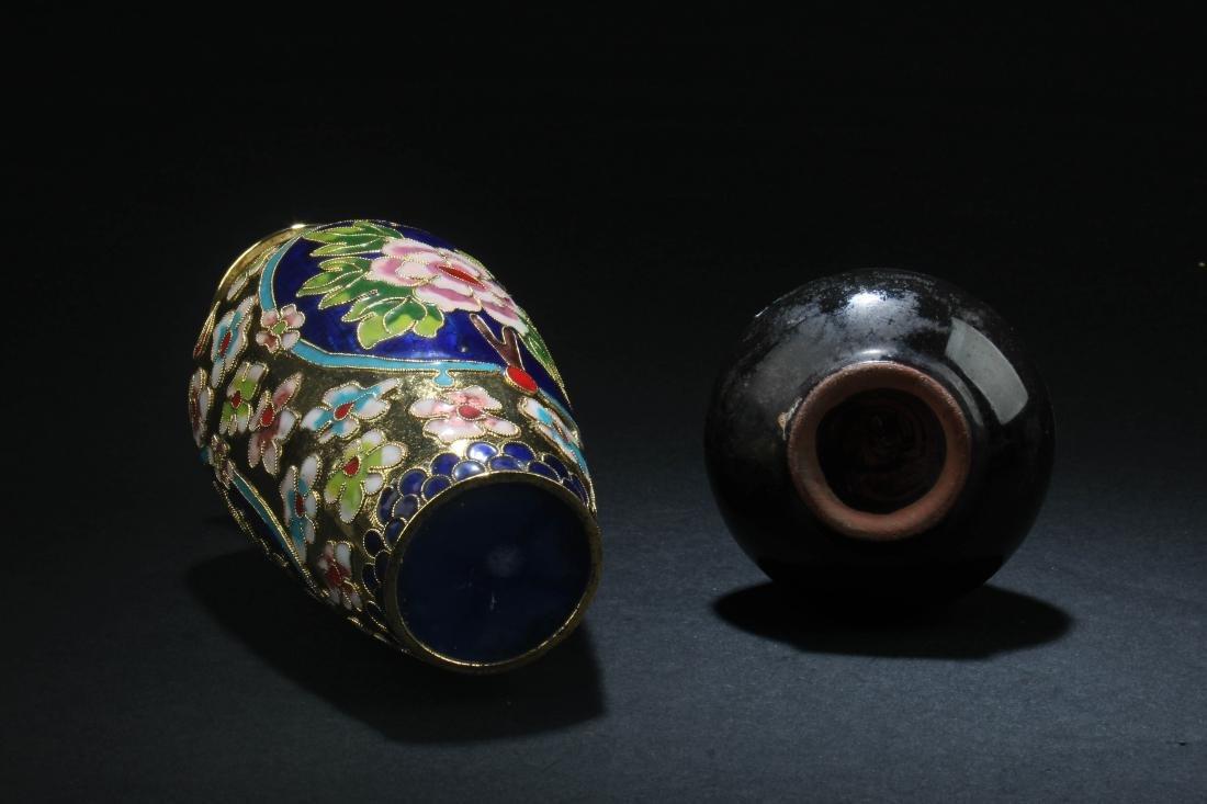 Chinese Porcelain Vase & Chinese Cloisonne Vase - 4