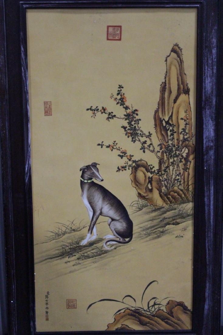 Chinese Hardwood Framed Porcelain Painting