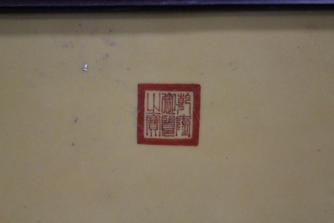 Chinese Hardwood Framed Porcelain Painting - 2