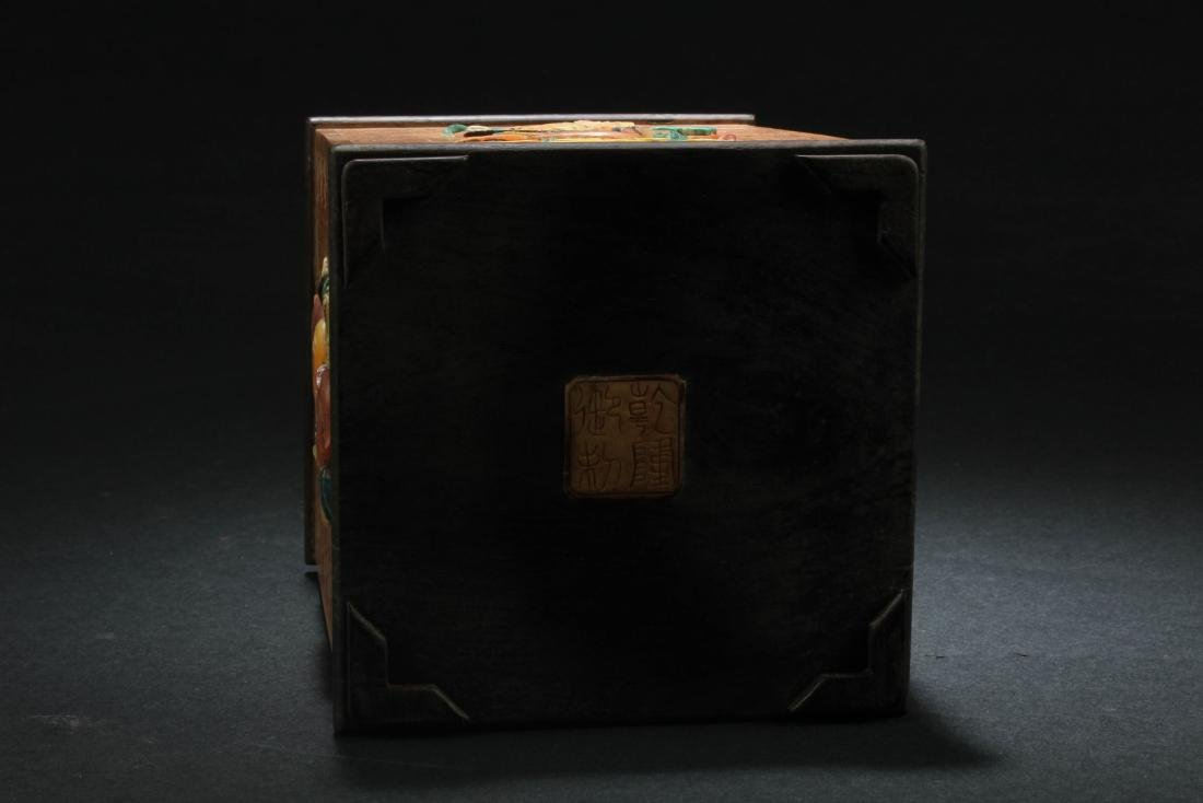 Chinese HuangYangMu with Mother Pearl Inlay Brushpot - 5