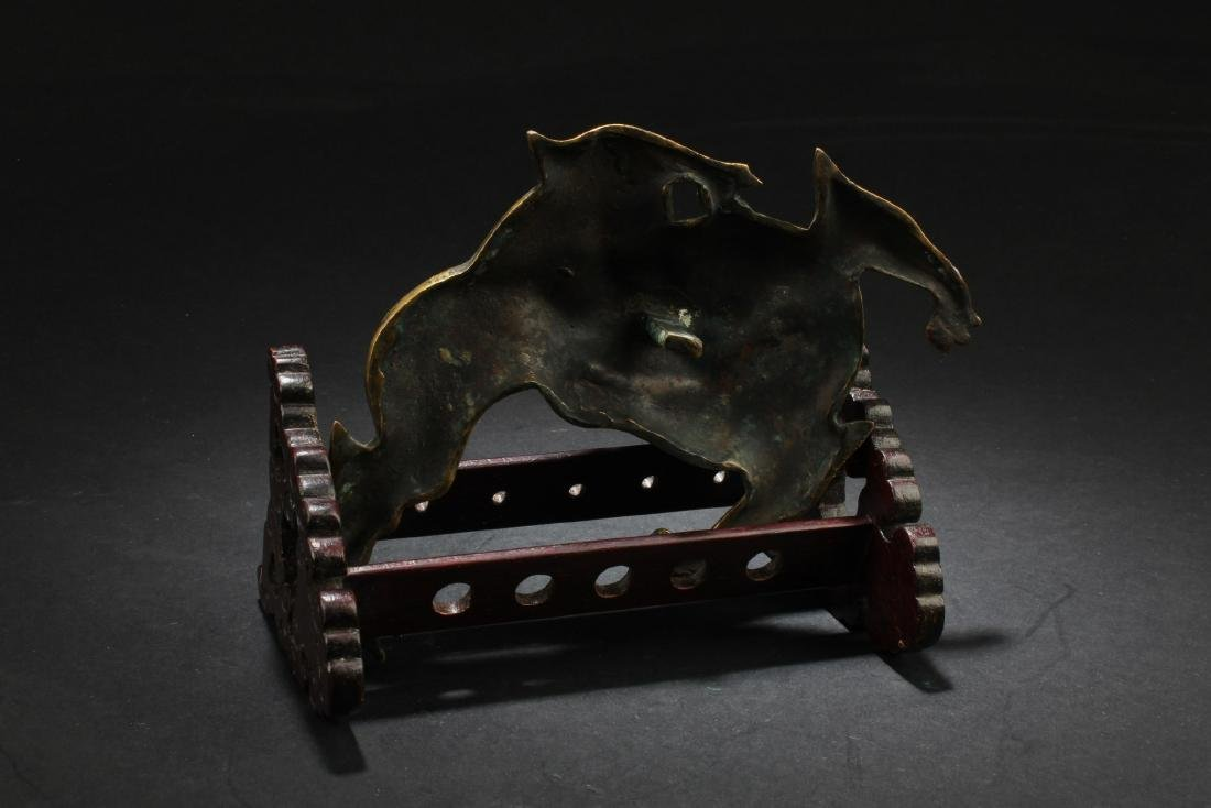 Antique Chinese Cloisonne Dragon Ornament with Wooden - 4