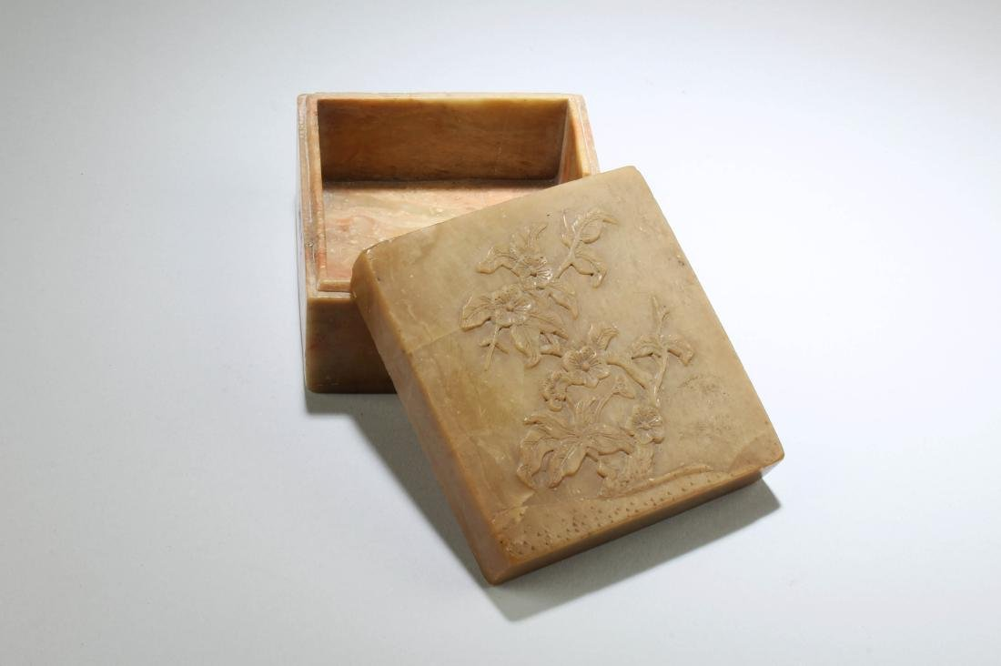 Antique Chinese Soapstone Box - 2