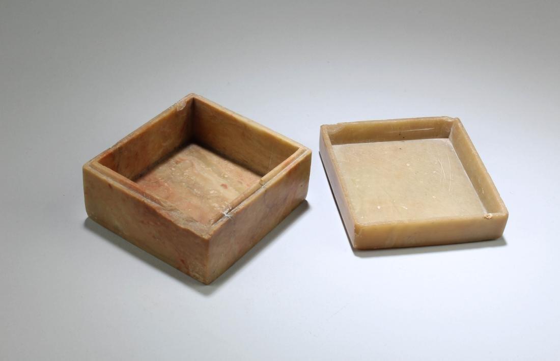 Antique Chinese Soapstone Box - 3