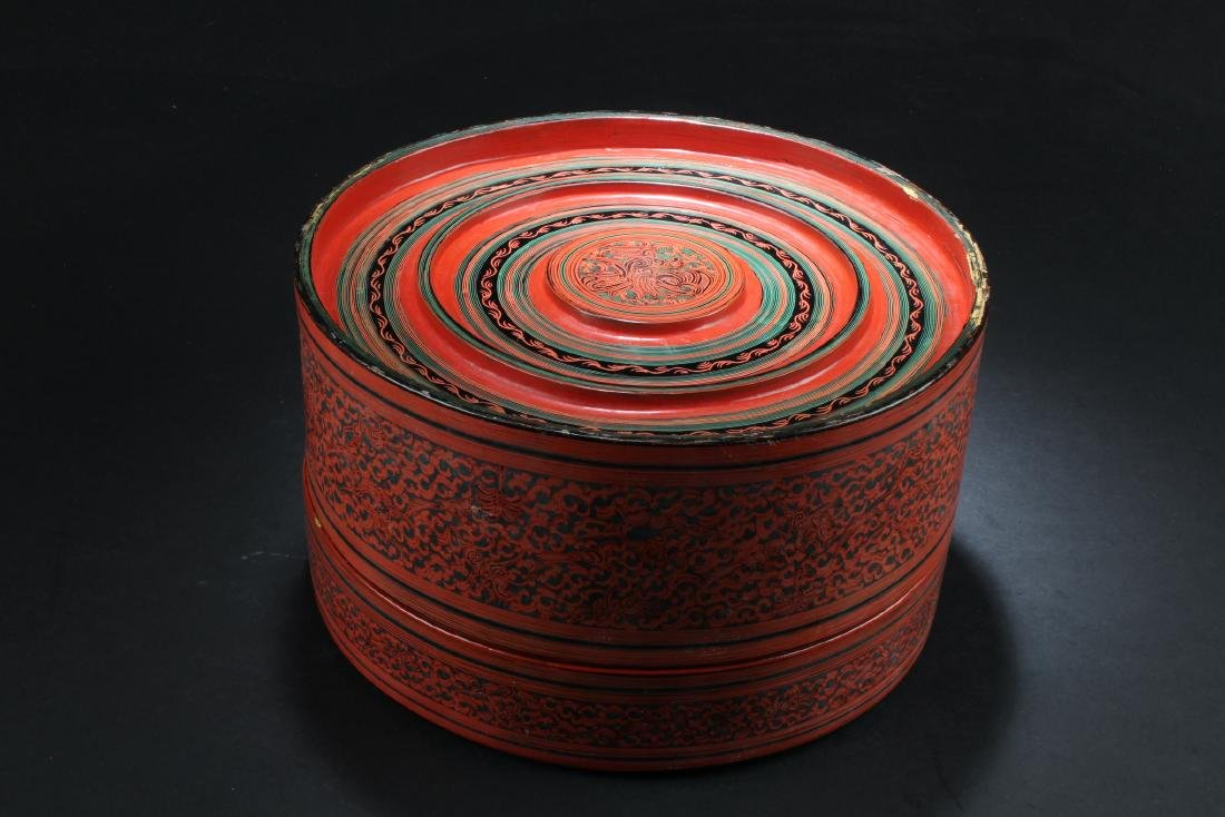 Antique Chinese Lacquer Round Container