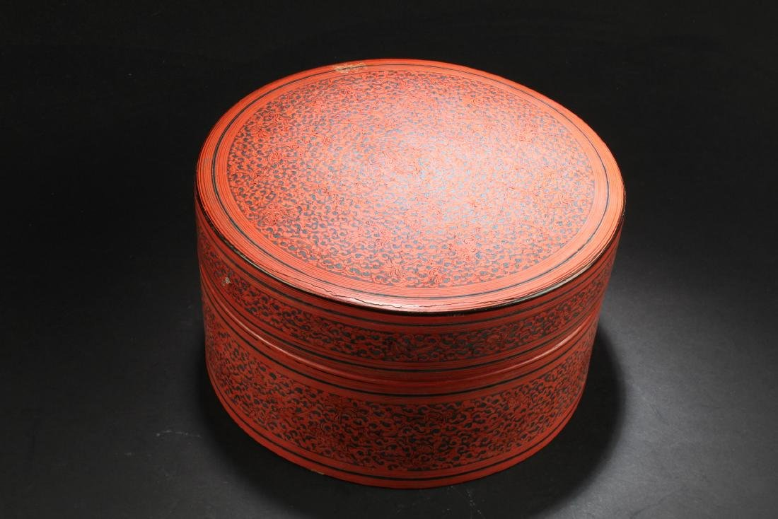 Antique Chinese Lacquer Round Container - 4