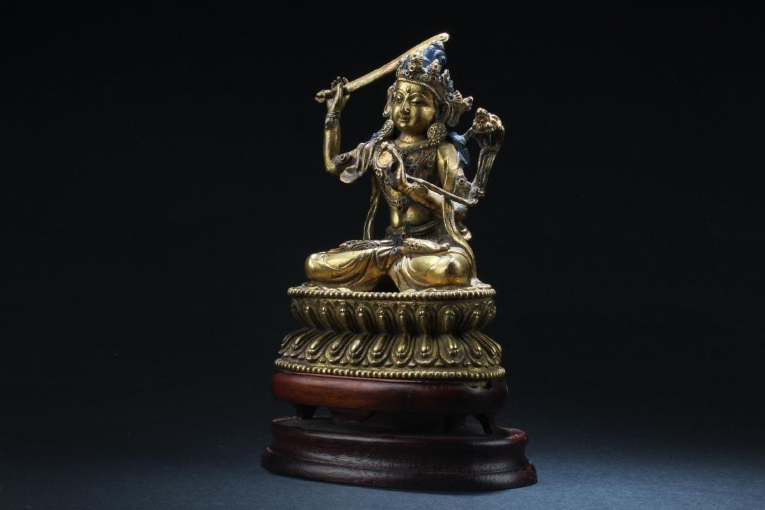 Chinese Gilt Bronze Bodhisattva Statue - 2
