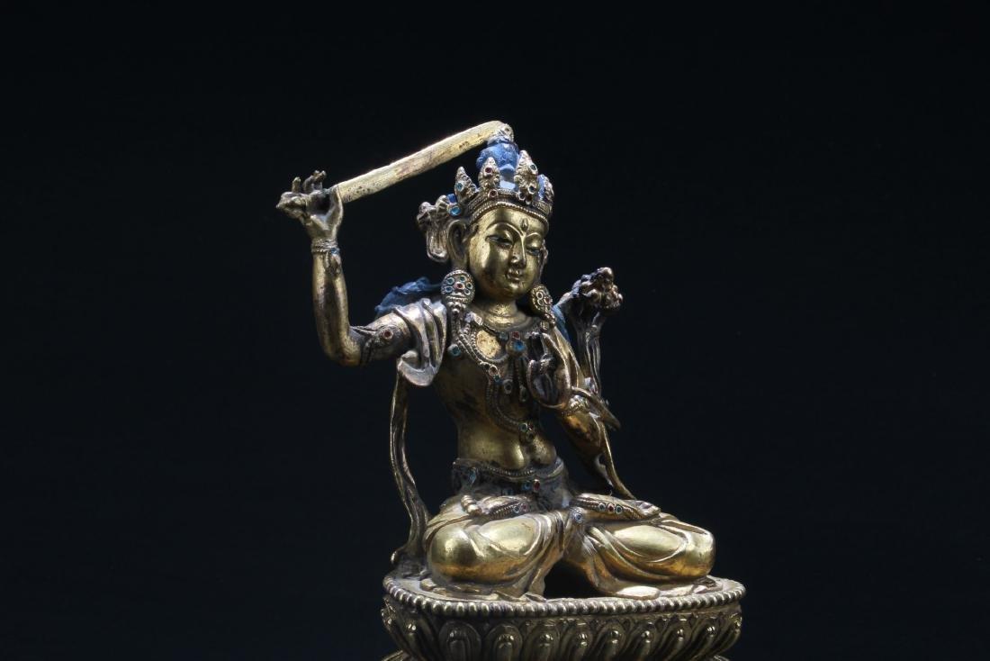 Chinese Gilt Bronze Bodhisattva Statue - 4