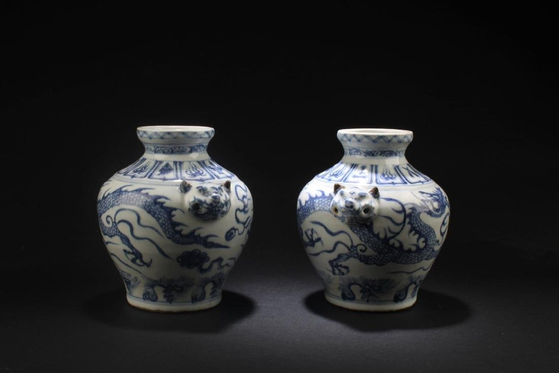 A Pair of Chinese Blue & White Porcelain Vases - 3