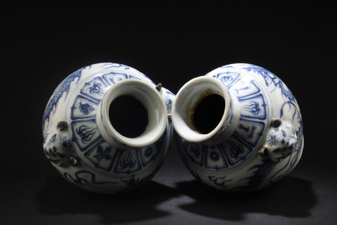 A Pair of Chinese Blue & White Porcelain Vases - 4