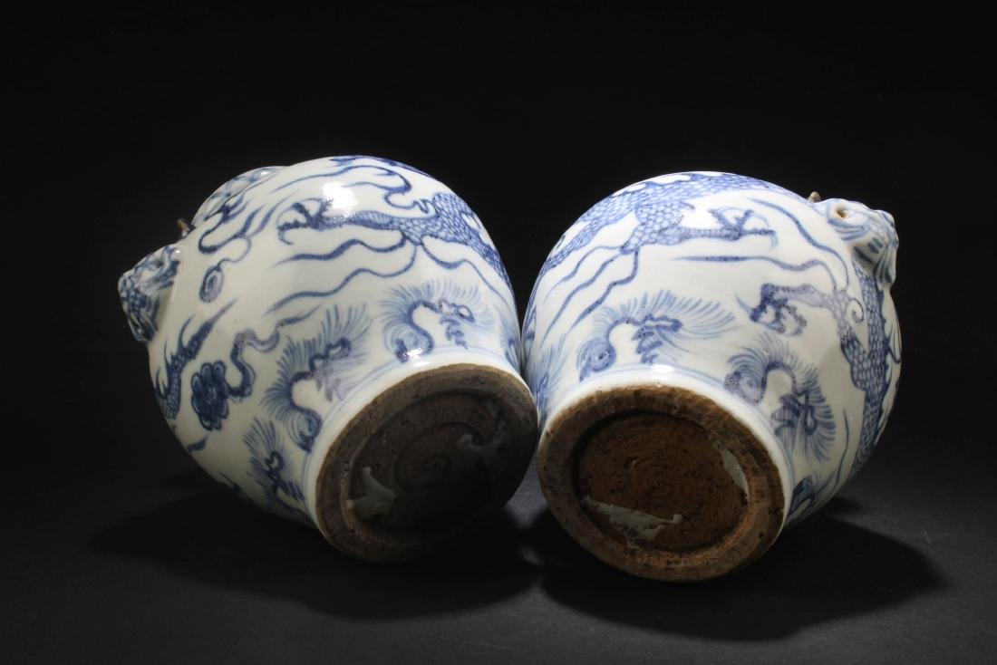 A Pair of Chinese Blue & White Porcelain Vases - 5