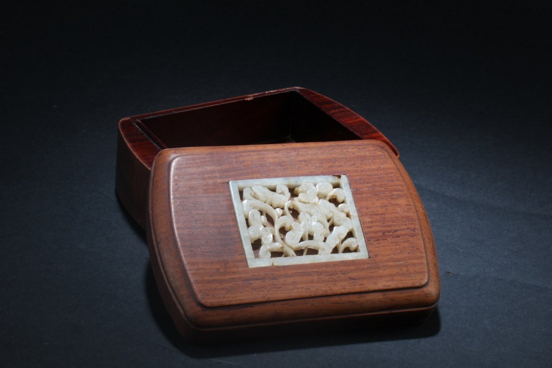 Chinese Hardwood Box with Pearl Inlay