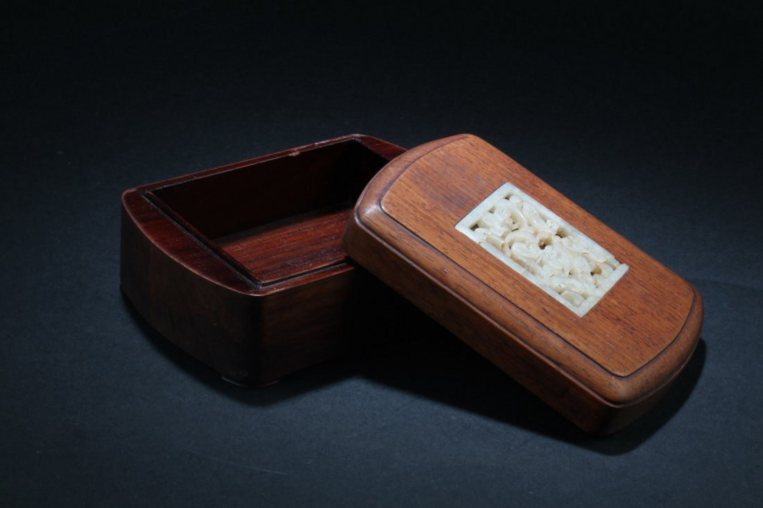 Chinese Hardwood Box with Pearl Inlay - 2