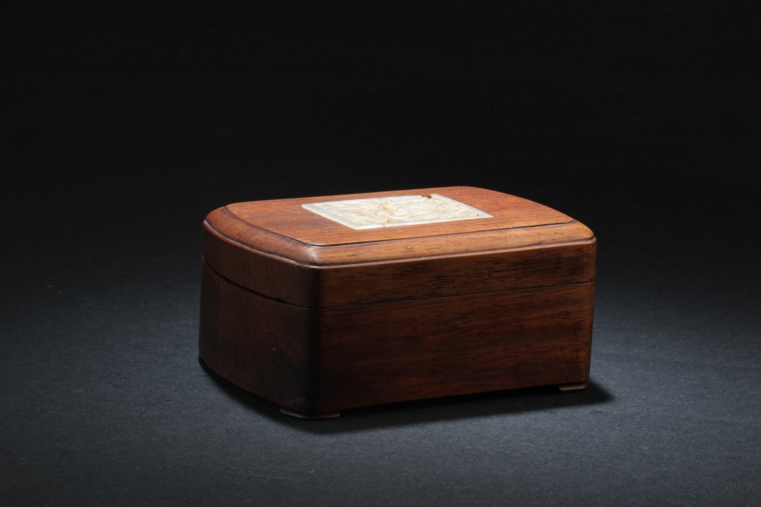 Chinese Hardwood Box with Pearl Inlay - 4