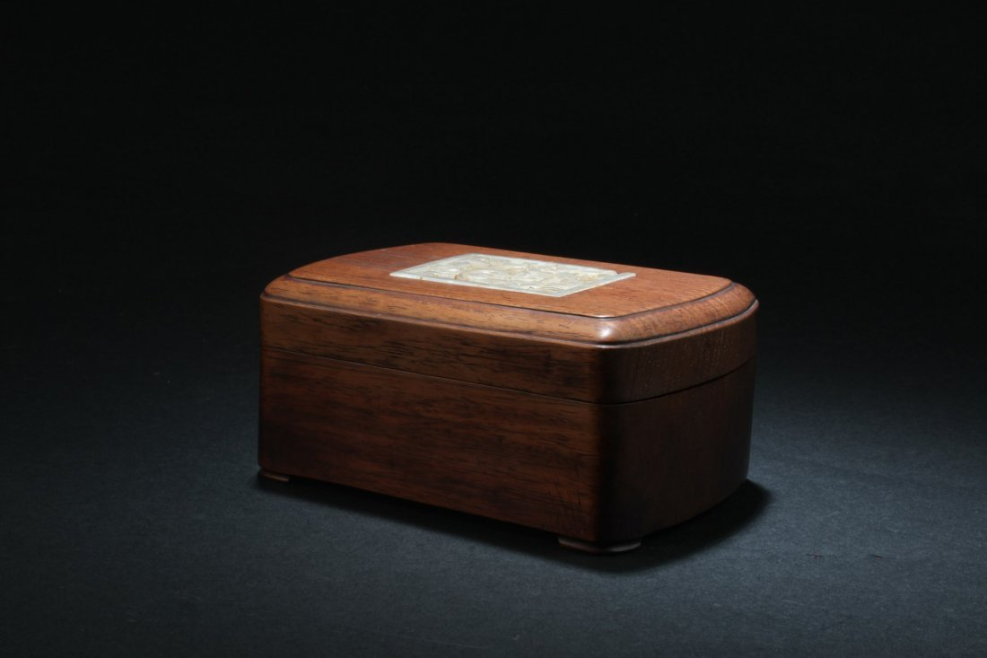 Chinese Hardwood Box with Pearl Inlay - 5