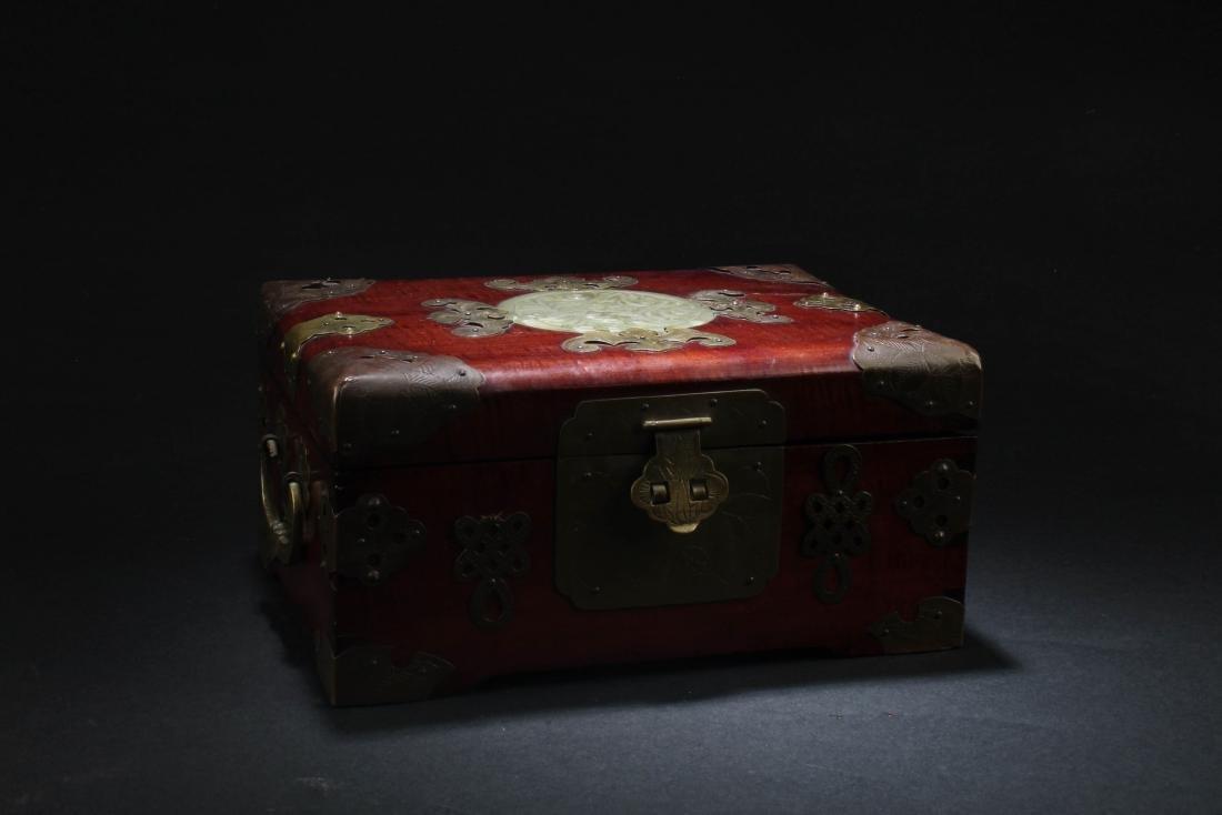 Chinese Hardwood Box with Pearl Inlay