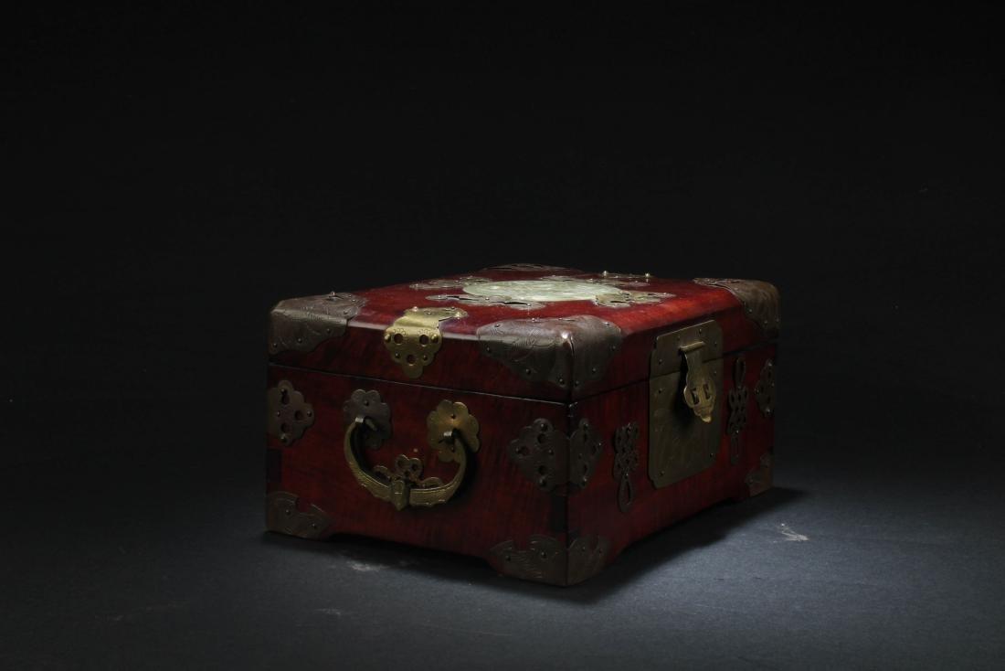 Chinese Hardwood Box with Pearl Inlay - 2