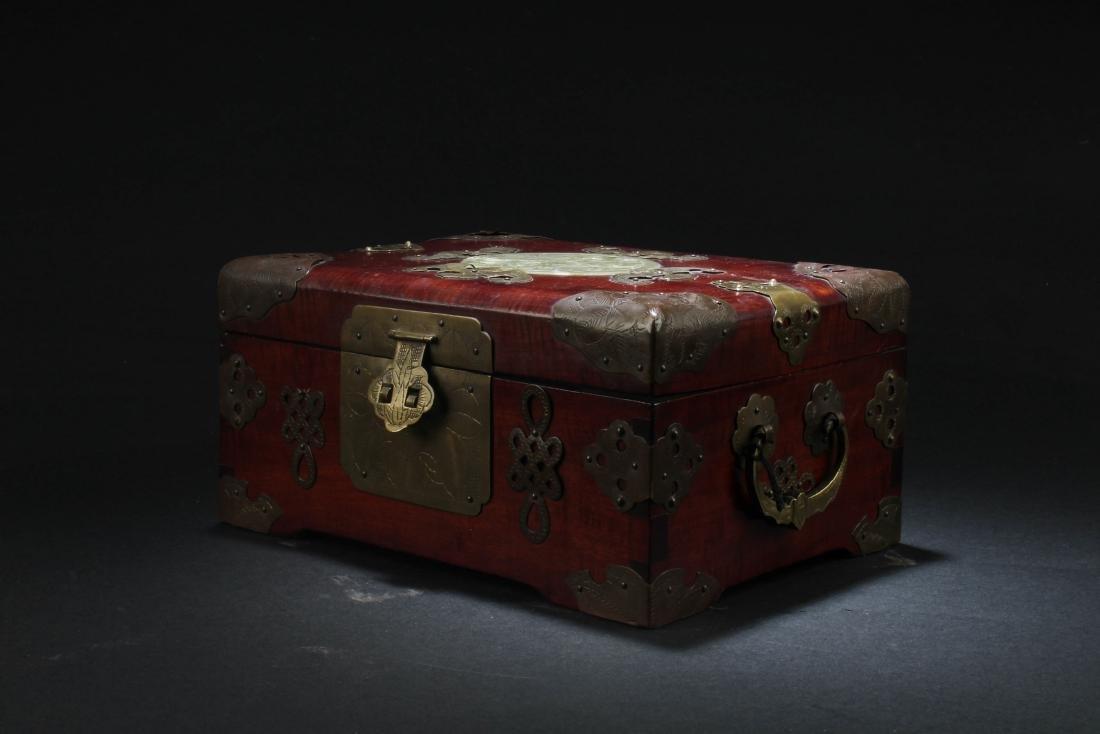 Chinese Hardwood Box with Pearl Inlay - 3