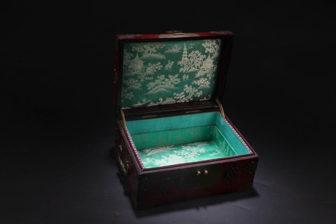 Chinese Hardwood Box with Pearl Inlay - 4