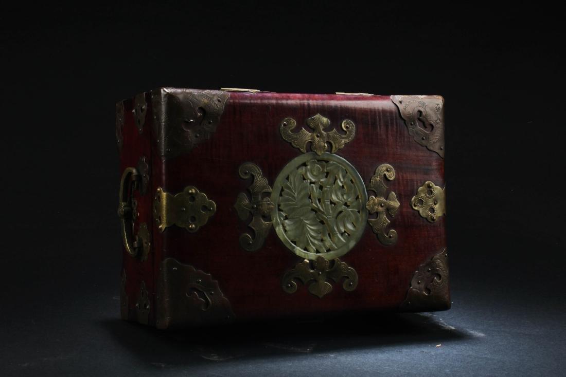 Chinese Hardwood Box with Pearl Inlay - 5