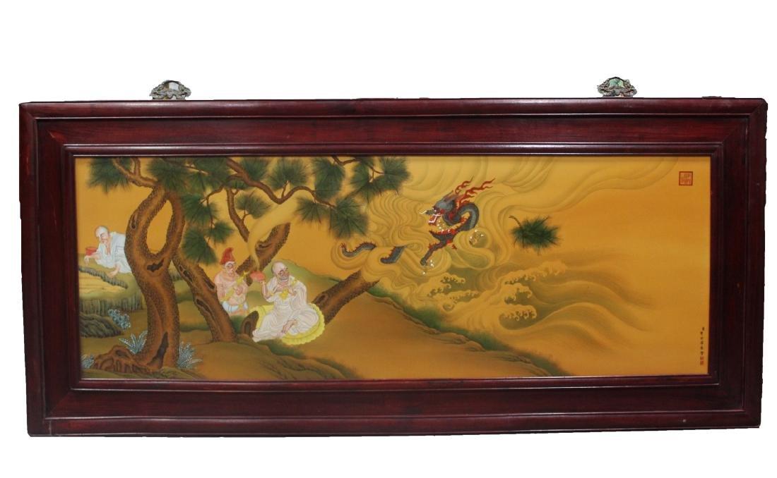 A Large Chinese Hardwood Framed Porcelain Painting