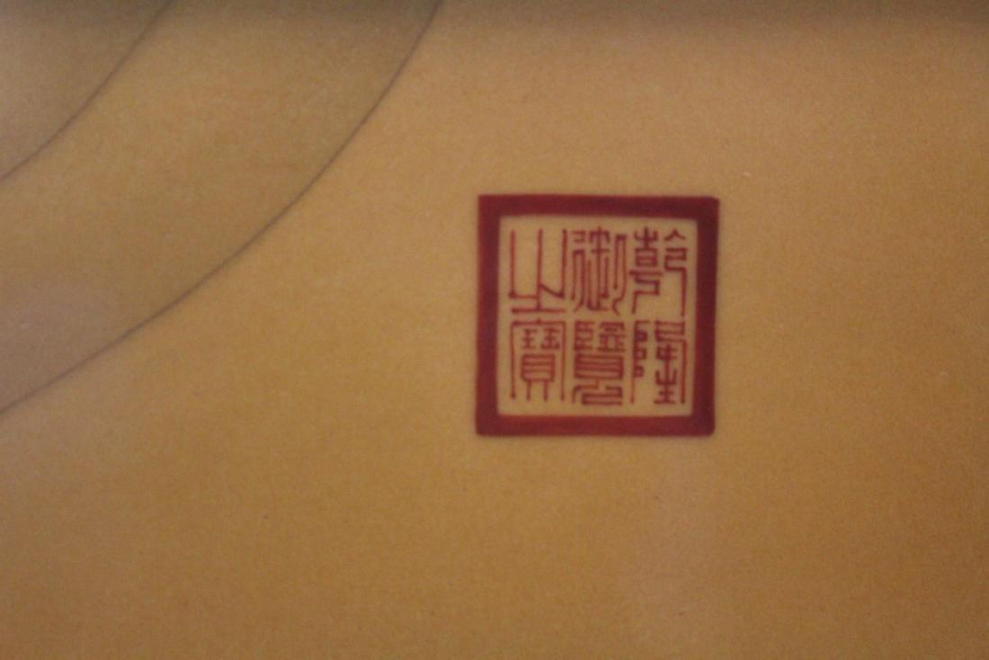 A Large Chinese Hardwood Framed Porcelain Painting - 5