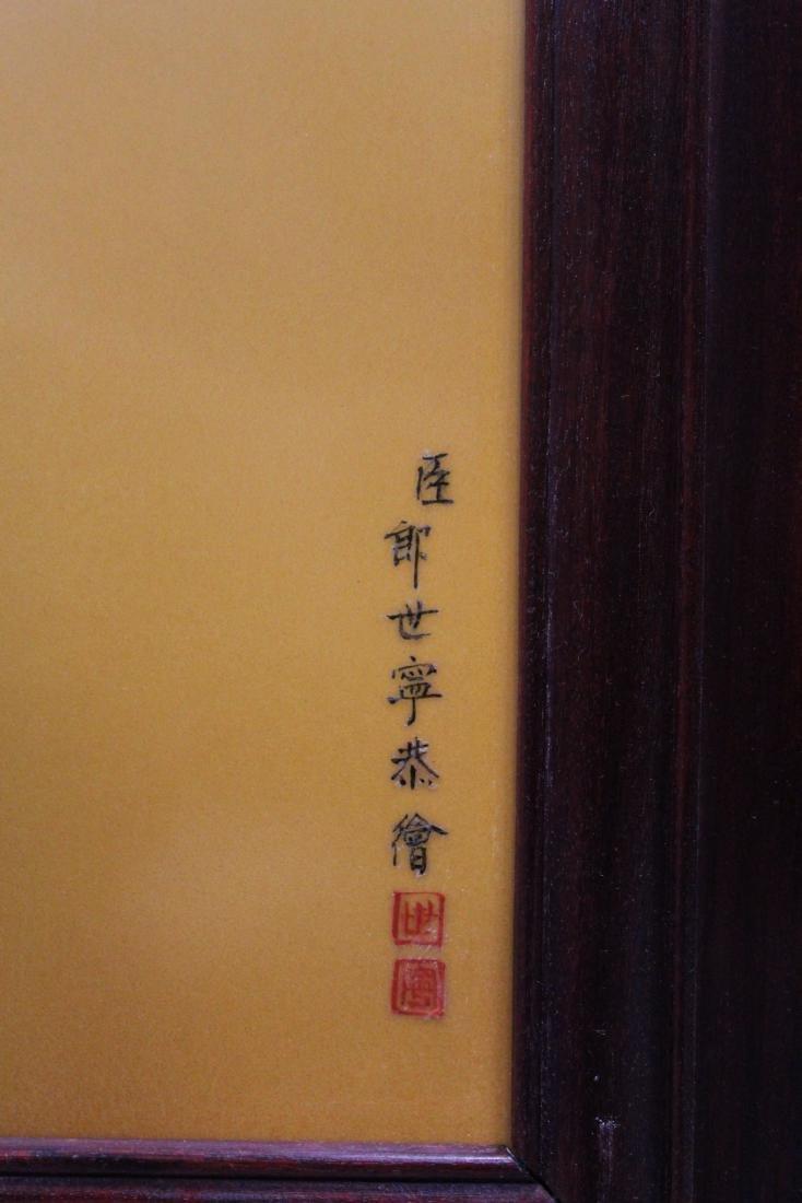 A Large Chinese Hardwood Framed Porcelain Painting - 6